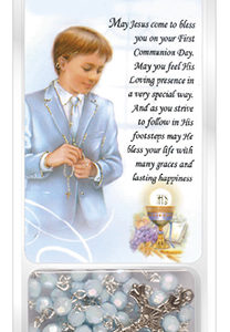 Communion Blue Acrylic Rosary Bead with Laminated Prayer Card