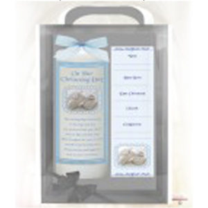 christening_gingham&&shoes_blue_6inch_white_candle