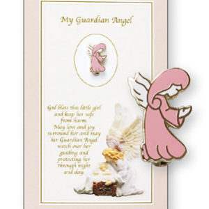 Metal Baby Brooch Guardian Angel Girl