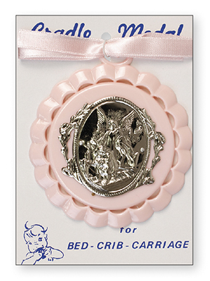 Plastic Baby Medallion Guardian Angel Motif Pink