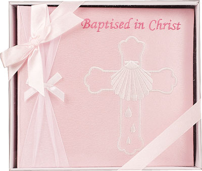 Embroidered Baptism Photo Album Girl