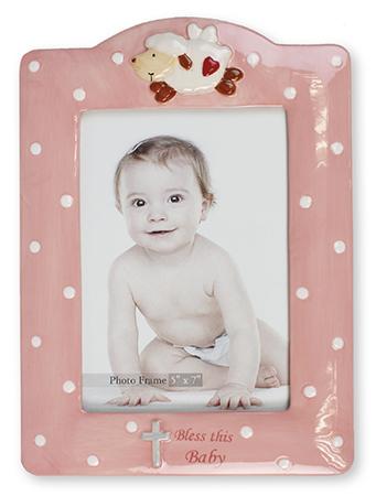 Porcelain Baby Photo Frame Pink Glazed