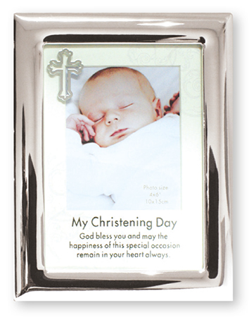 Christening Photo Frame Silver Finish 1
