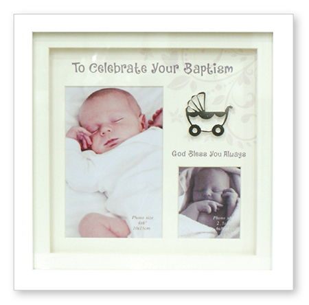 Christening Photo Frame White Finish 1