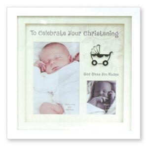 Christening Photo Frame White Finish