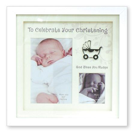Christening Photo Frame White Finish 1