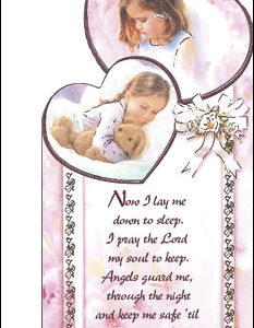 Wood Plaque Baby Girl with Prayer