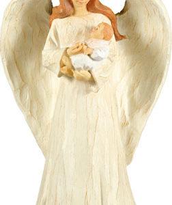 Faux Wood Resin Guardian Angel & Baby