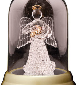 Glass Dome Praying Angel with Baby