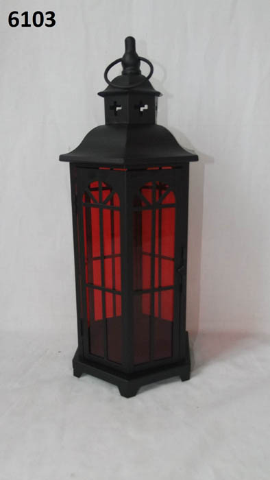 Large Metal lantern Red Glass