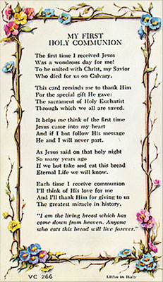 Communion Gifts - Verse Leaflet First Communion