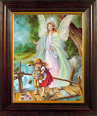 Wood Framed Guardian Angel Picture