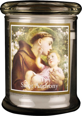 LED Glass Candle Holder Saint Anthony