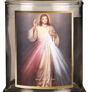 LED Glass Candle Holder Divine Mercy