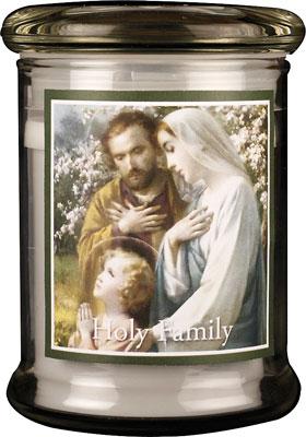 LED Glass Candle Holder Holy Family