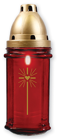 Red Glass Grave Light - 8.5 inch With Candle