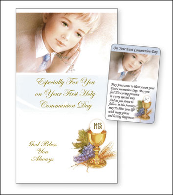 Communion Card Boy Laminated Leaflet