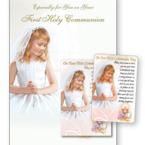 Communion Card Girl Laminated Leaflet