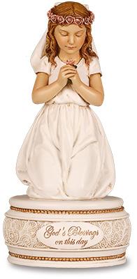 Resin Communion Statue Praying Girl 6 inch
