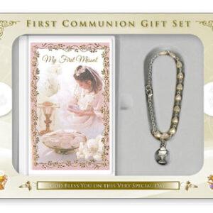 Communion Gift Set Girl With Rosary Bracelet