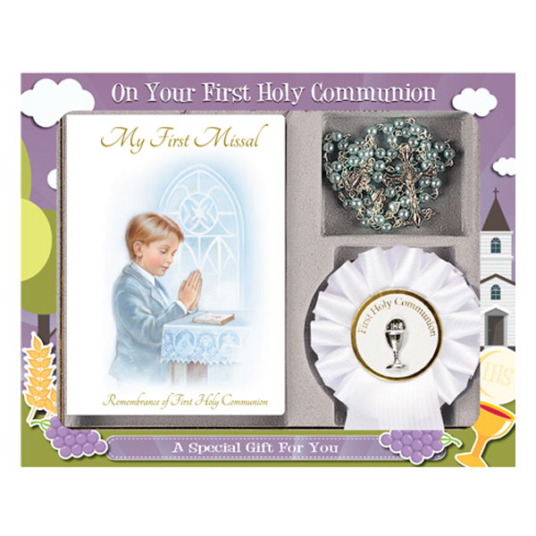First Communion Gift Set Boy with Paperback Book, Rosette & Blue Rosary Bead.