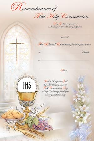 Communion Certificate Symbolic