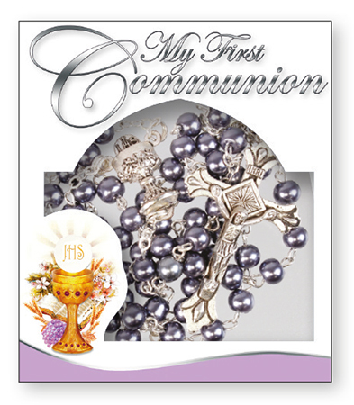 Communion Imitation Hematite Rosary