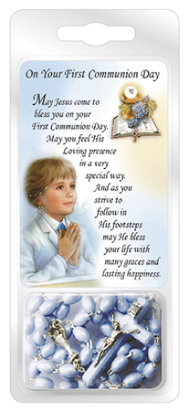 Communion Blue Plastic Rosary Bead with Laminated Prayer Card
