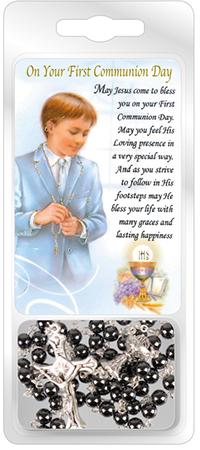 Communion Glass Rosary Imitation Hematite with Laminated Prayer Card