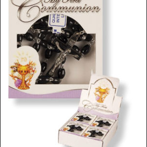 Communion Rosary Plastic Black