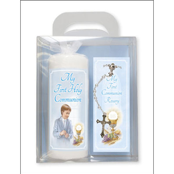 C86501-Communion-Candle-6-inch-Gift-Boxed-Boy-Rosary