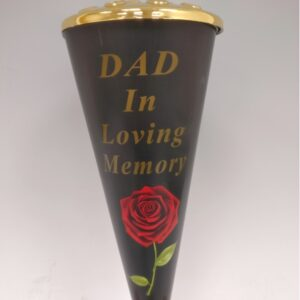 red rose design cone vase with gold lid