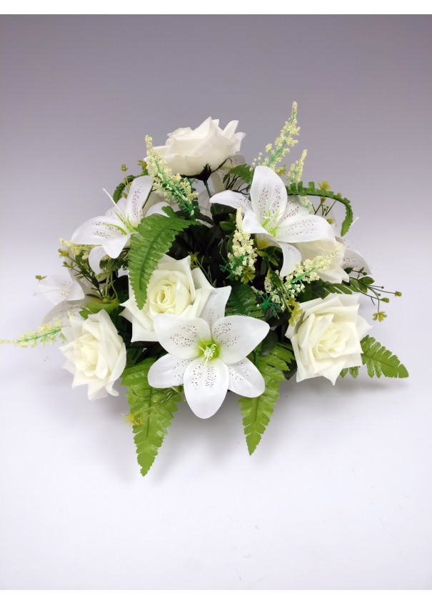 Grave Ornaments Weighted rose and lily silk flower