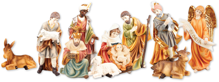 10 inch - 11 Figure Resin Nativity Set.