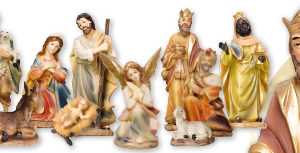 4.5 inch - 11 Figure Resin Nativity Set.