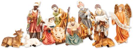 6 inch - 11 Figure Resin Nativity Set.