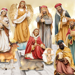 8 inch - 11 Figure Resin Nativity Set.