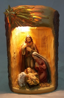 19 cm Holy Family Nativity With Light.
