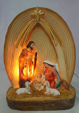 23.5 cm Holy Family Nativity With Light.