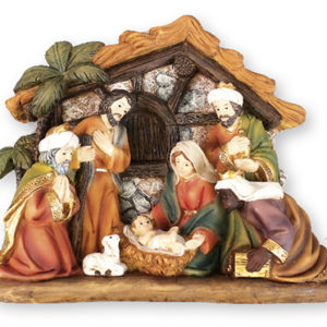 3.5 inch - 7 Figure Resin Nativity Set with Shed