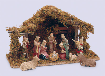 4 inch Nativity Set 11 Figures with Wood Shed 1