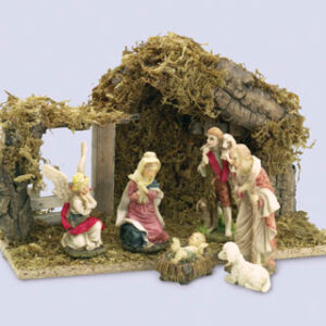 4 inch Nativity Set 6 Figures with Wood Shed