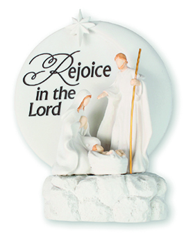 5.25 H inch Resin Holy Family Nativity set with Verse & Light