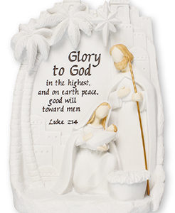 5.5 H inch Resin Holy Family Nativity set with Verse & Light