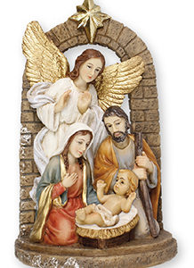 "6"" Holy family Nativity Scene with Guardian Angel. Handpainted Resin."