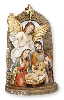 6″ Holy family Nativity Scene with Guardian Angel. Handpainted Resin