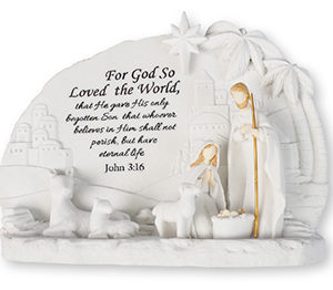 6 x 4 inch Resin Holy Family Nativity set with Light