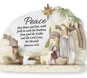 6 x 4 inch Resin Holy Family Nativity set with Verse & Light
