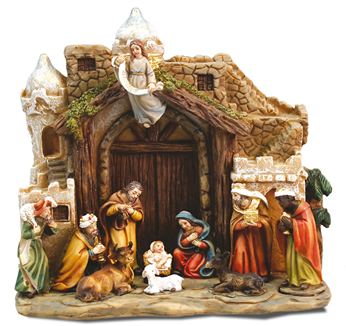 6.5 x 6.5 inch Resin Nativity Scene with Shelter