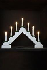 7 Light White Wood Candle Bridge